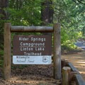 Sign for Linton Lake Trailhead and Alder Springs Campground.- Linton Lake Hike