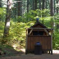 Vault toilet in Alder Springs Campground.- Alder Springs Campground