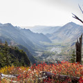 Stunning fall colors from the northeastern edge of Coldwater Creek basin.- Whittier Ridge Trail from Norway Pass