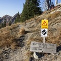 From Norway Pass, the signage at the Whittier Ridge Junction provides fair warning to unseasoned hikers.- Whittier Ridge Trail from Norway Pass