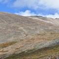 First glimpse of the summit.- Mount Sherman Hike via Iowa Gulch