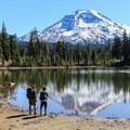 South Sister (10,358 ft) from Husband Lake, Three Sisters Wilderness.- Three Sisters Wilderness Westside Hike