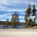 View from the Turquoise Lake parking area near the dam.- Turquoise Lake Trail Mountain Bike Ride