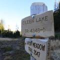 Trail signage along the route.- Eileen Lake + The Husband Lake Hike