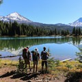 View to Middle Sister (10,047 ft) and South Sister (10,358 ft) from Eileen Lake.- Eileen Lake + The Husband Lake Hike