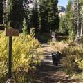 Cecret Lake Trail marker.- Cecret Lake