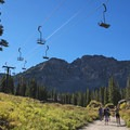 Alta Ski Resort is located in the same area as the trail and campground.- Cecret Lake
