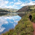 The lake trail is easy and flat.- Sylvan Lake Loop Trail