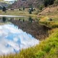 Sylvan Lake view and the rental cabins.- Sylvan Lake Loop Trail