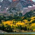 Just a hint of sun on the peaks.- Maroon Bells Sunrise