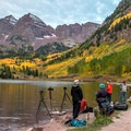 There is always lots of company at the lake in peak color season.- Maroon Bells Sunrise