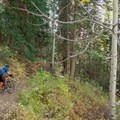 Riding up the Big Water Trail.- Dog Lake Mountain Bike Ride: Great Western Trail to Big Water Trail