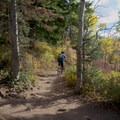 Turning off onto Big Water.- Dog Lake Mountain Bike Ride: Great Western Trail to Big Water Trail