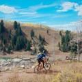 Descending back into the lake.- Desolation Lake Mountain Bike Ride
