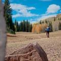 Climbing out of the lake.- Desolation Lake Mountain Bike Ride