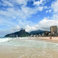 Ipanema Beach with the Dois Irmãos (Two Brothers) Mountain in the distance.- Ipanema Beach