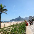 A view west at Ipanema Beach with the Dois Irmãos (Two Brothers) Mountain in the distance.- Ipanema Beach