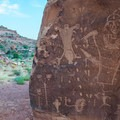 The Birthing Scene petroglyphs in Kane Creek Canyon.- Kane Creek Camping