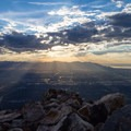 Sunset and views of Salt Lake City from the top of Mount Olympus.- Mount Olympus via Wasatch Boulevard Trailhead