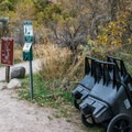Wheelbarrows are provided at the walk-in site parking lot.- Rifle Falls Campground