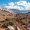 Split Mountain is visible down the canyon.- Sound of Silence Trail