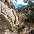 Some of the trail requires some scrambling.- Sound of Silence Trail