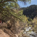 Fifth Water Creek flows along the trail.- Fifth Water Hot Springs