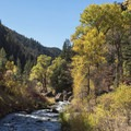 Beautiful fall colors on the trail to Fifth Water Hot Springs.- Fifth Water Hot Springs
