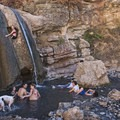 Cool little waterfall into the hot pot.- Fifth Water Hot Springs