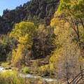 Beautiful fall colors along the Fifth Water Creek.- Fifth Water Hot Springs