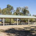 Day use picnic shelter at Rendezvous Beach Campground.- Rendezvous Beach Campground