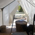 One of two platform tents at Columbia Hills Historical State Park Campground.- Columbia Hills Historical State Park Campground