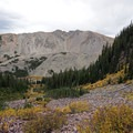 Looking south from the trail before the steep switchbacks. - Cathedral Lake Trail
