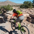 A brave rider trying the Horsethief Bench drop-in.- Kokopelli Loops Mountain Bike Trails: Horsethief Bench