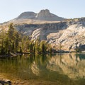 View of Mount Hoffmann over May Lake.- May Lake Trail Hike