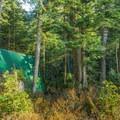 The backcountry cabin at Elsay Lake.- Elsay Lake Hiking Trail