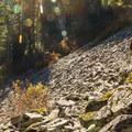 Crossing the rock fields.- Elsay Lake Hiking Trail