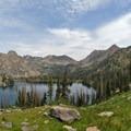 From Gilpin Ridge, Big Agnes and Mount Zirkel frame Gilpin Lake.- Zirkel Circle Hike