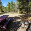 Each site comes with a picnic table and fire ring. - Lakeview Campground