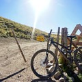Gate crossing and the official start of the climb up Strand Hill.- Strand Hill Mountain Bike Ride