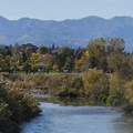 Looking south along the Jordan River to the Oquirrh Mountains.- Jordan River Parkway Road Cycling