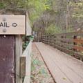 The Mueller Park Trailhead across the bridge.- Mueller Park Trail Mountain Bike Ride to Big Rock