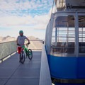 Getting off the tram for the Big Mountain Trail ride.- Big Mountain Trail Mountain Bike Ride