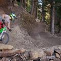 Railing a berm in the lower pines.- Big Mountain Trail Mountain Bike Ride