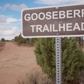 Trailhead marker as you enter the park.- Gooseberry Mesa Mountain Biking: South Rim, Hidden Canyon + White Trail