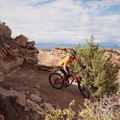 Steep switchback dropping from the upper section.- Hurricane Cliffs Mountain Biking: JEM