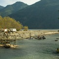 "Film crews on location for ""Planet of the Apes"" at the other closed campground.- Gold Creek Campground"