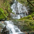 A natural waterfall with a man made collection pool.- Menzies Trail Mountain Bike Ride