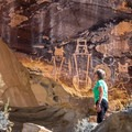The McKee Springs rock art is exceptionally large.- McKee Springs Petroglyphs + Island Park