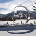A sculpture commemorating the 2002 Winter Olympics in Salt Lake and Park City, just a few hundred yards from the farm.- The McPolin Farm